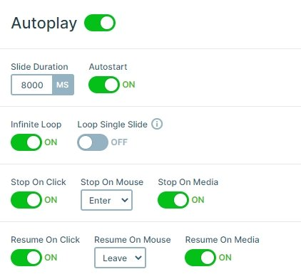 Settings of the autoplay