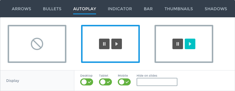 Autoplay control in the slider