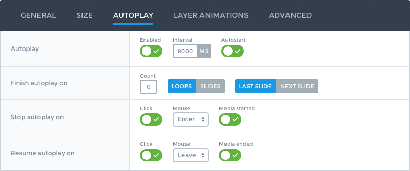 Slider options for autoplay slides feature