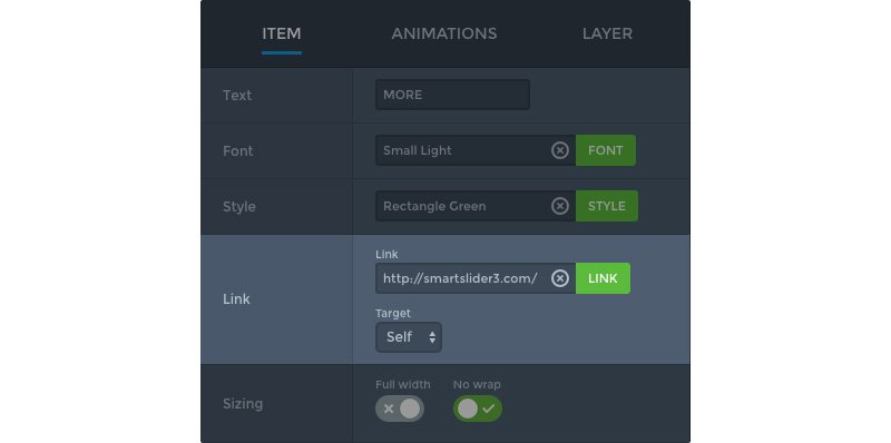 Link field in Smart Slider 3