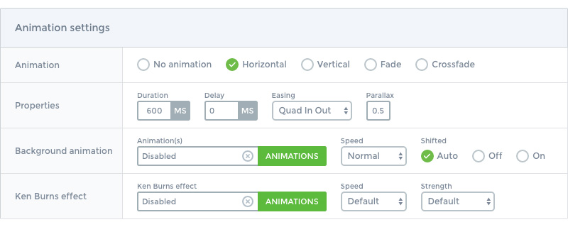 Main slider animation options