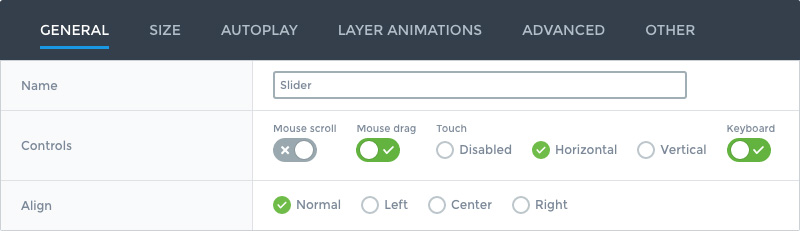 Smart Slider 3 control options