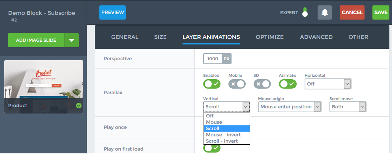 Parallax effect settings in Smart Slider 3