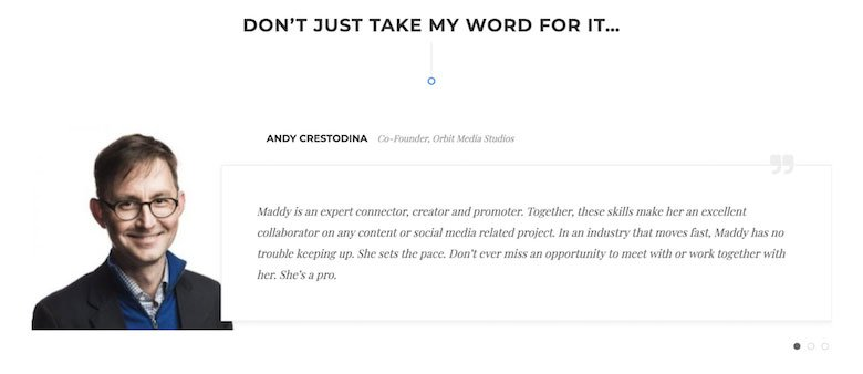 The testimonial slider on The Blogsmith website.