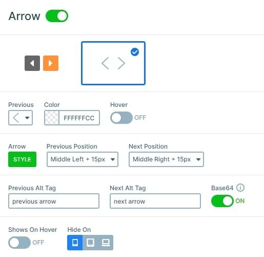 Settings of the Arrow control