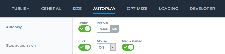 Settings for autoplay in the free version of Smart Slider 3