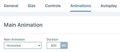 Main animation settings
