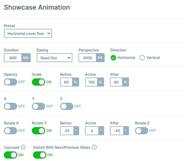 Showcase slider settings