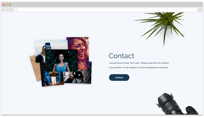 Portfolio Landing page: Fourth slider - Contact