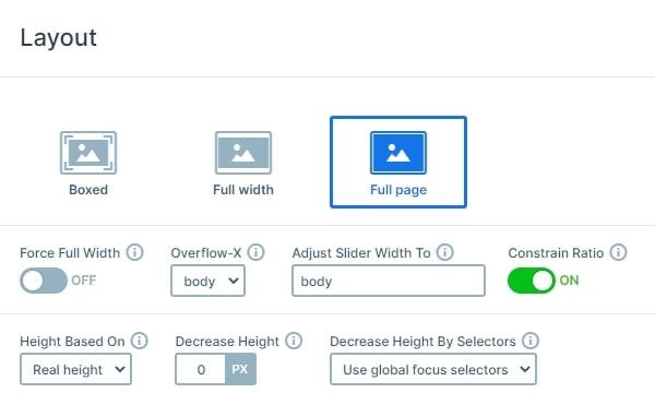 Full page slider options