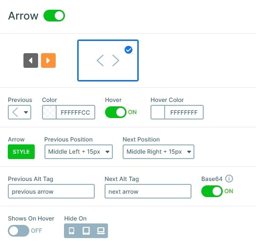 Settings of the arrow control