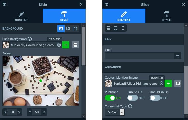 Slide background (left) and custom ligthbox image (right)