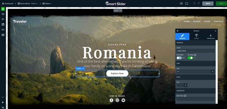 Slide editor in Smart Slider