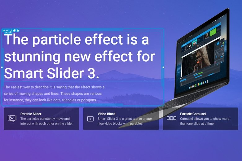 Particle slider layout