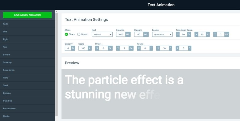 Text animation manager
