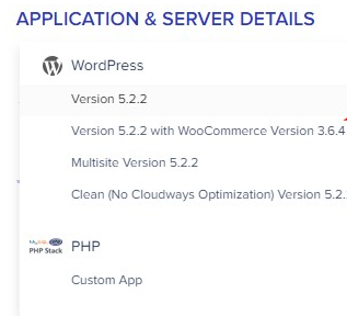 Application And Server Details In Cloudways