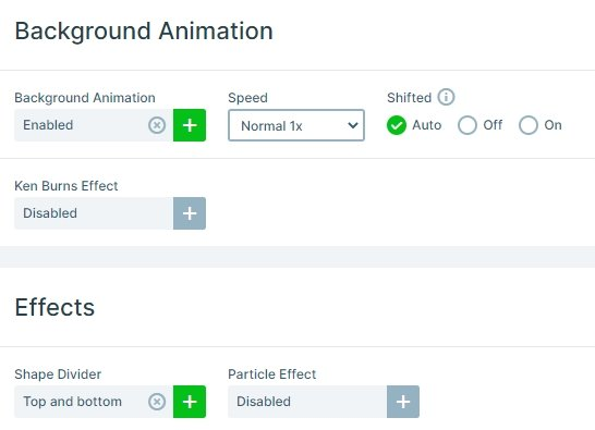 Animations and effects on the slider