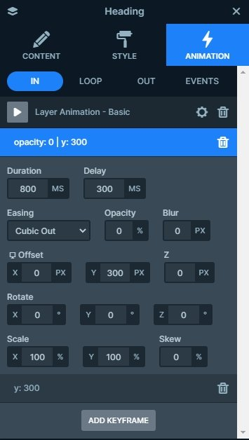 Layer animation settings of the heading