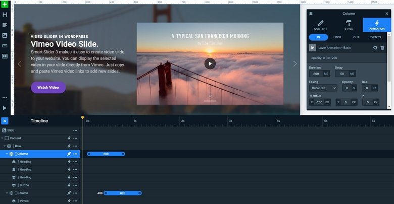 Layer animations and timeline