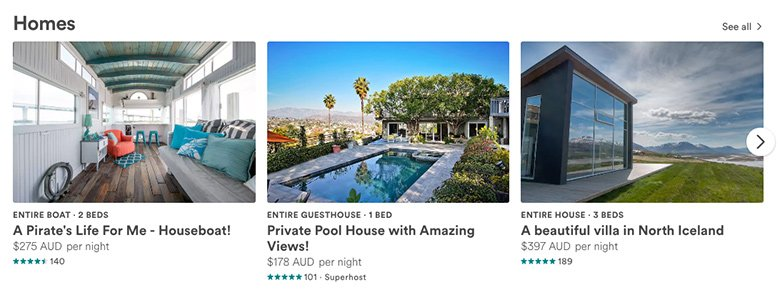Homes slider - Airbnb