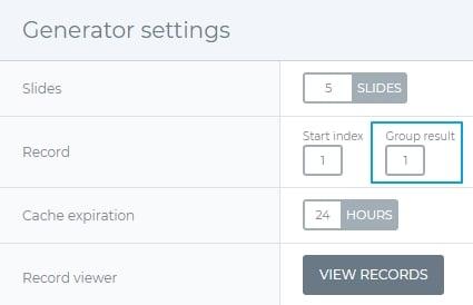 Generator settings