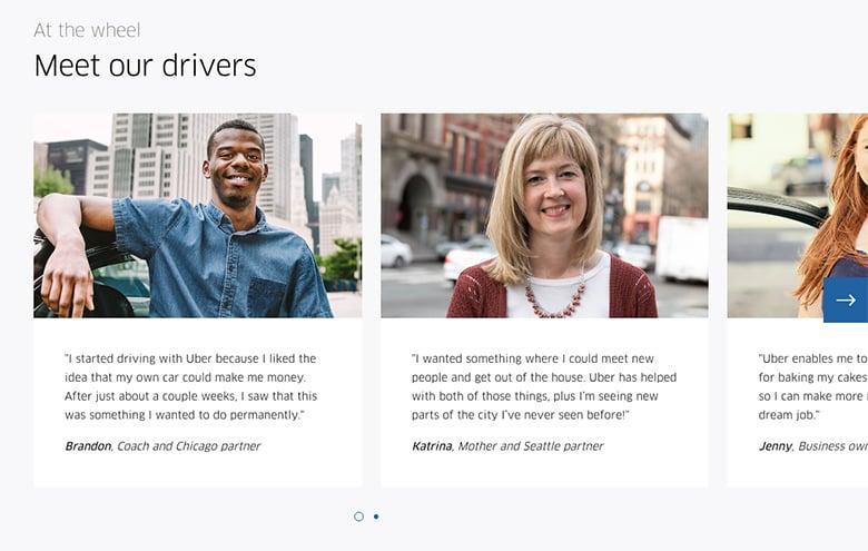 Testimonial slider - Uber