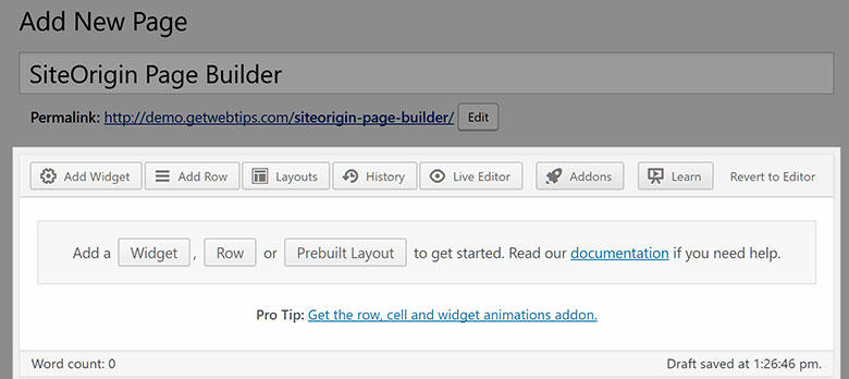 Page Builder by SiteOrigin Editor