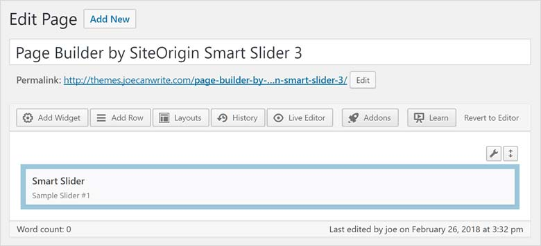 Page builder by SiteOrigin Smart Slider Widget