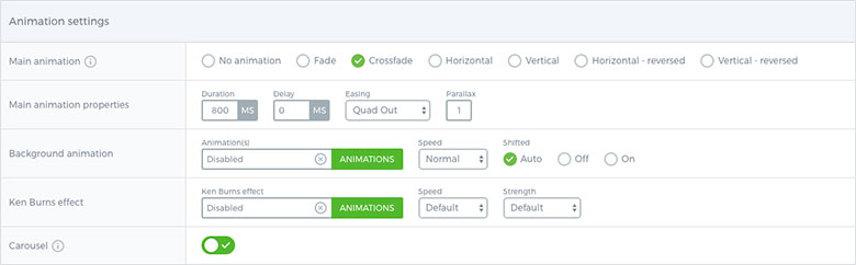Smart Slider - Animation Settings