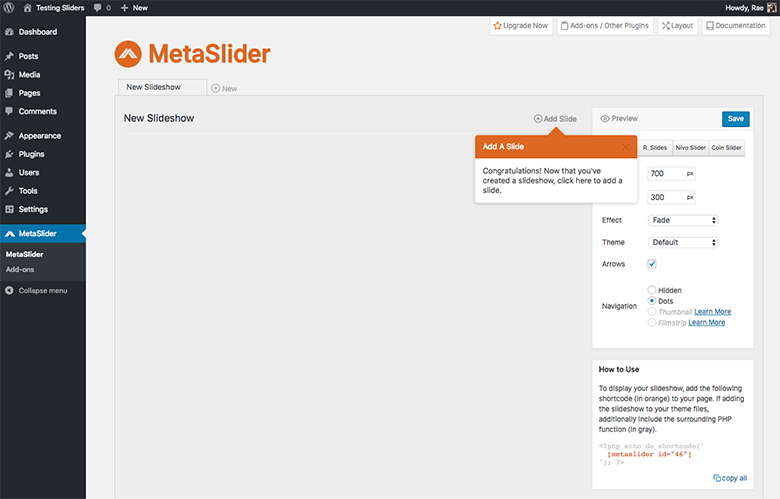 MetaSlider Add Slide