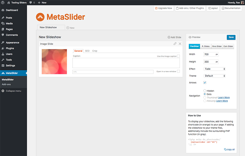 MetaSlider Adding Slides