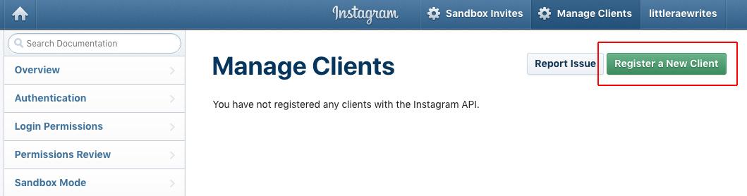 Instagram register client