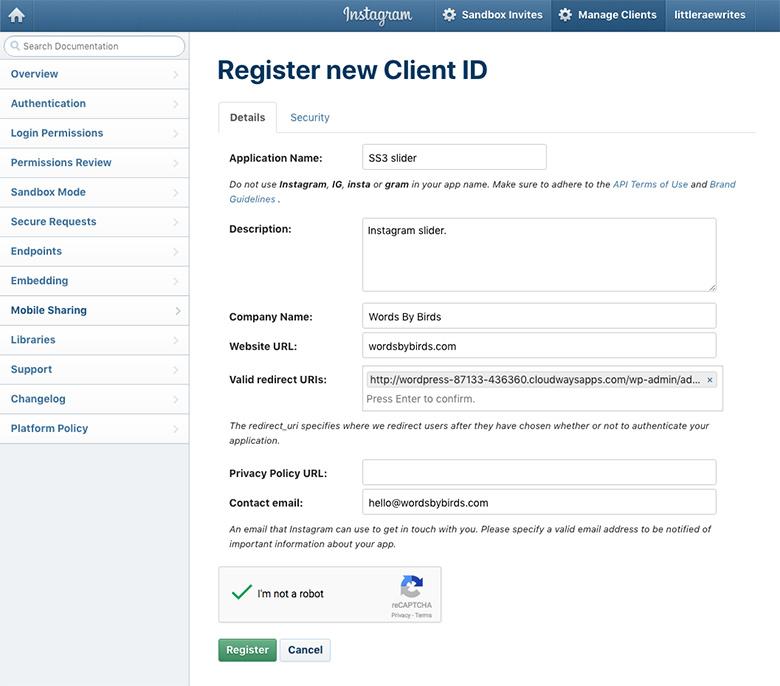 Instagram register new client id