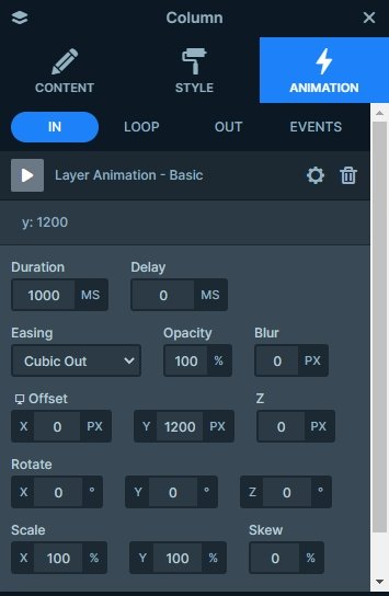 Animations tab of the layer window