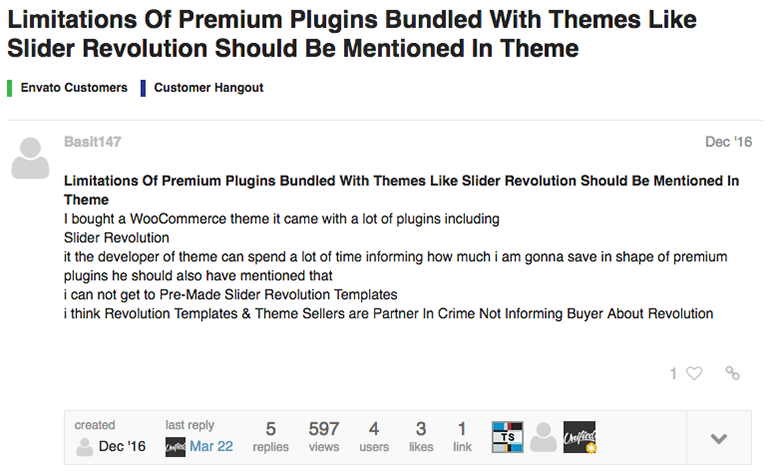 themeforest bundled plugins limitations