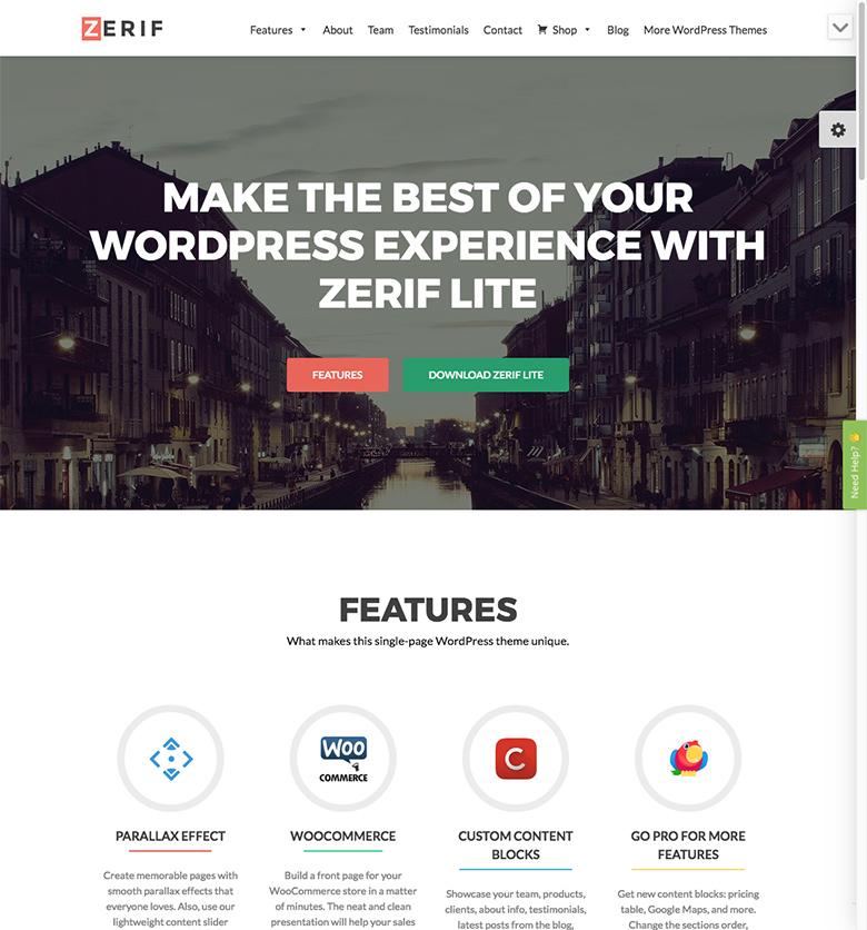 Zerif Lite theme preview