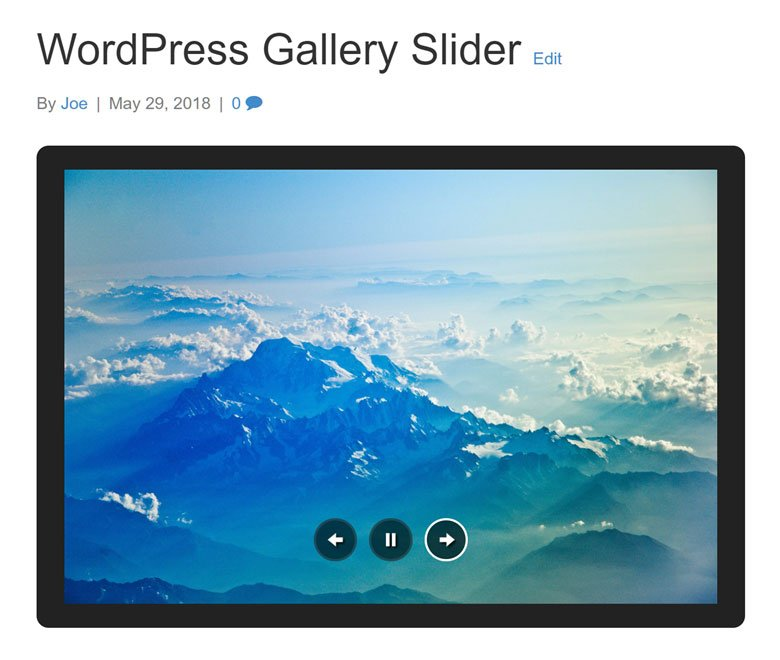 WordPress Gallery Slider Jetpack Preview