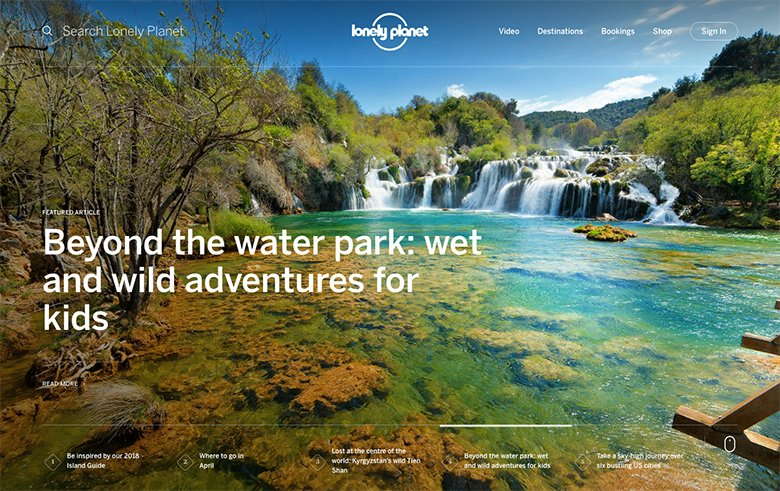 Lonely Planet's slider with high quality photography