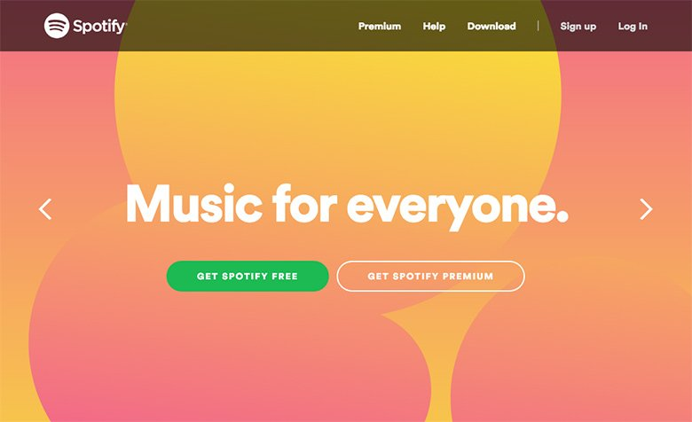 Spotify's hero slider