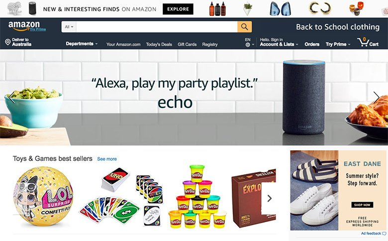 Amazon homepage slideshow