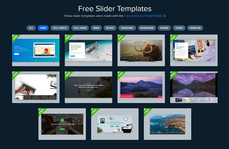 Free slider templates