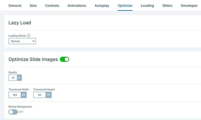 Smart Slider 3 Optimize tab