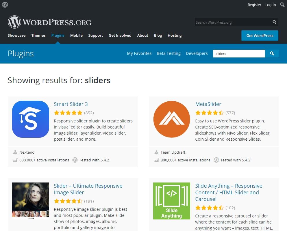 Sliders in WordPress.org's plugin directory