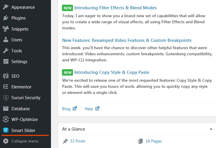 Smart Slider 3 in WordPress menu