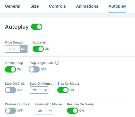 Slider autoplay settings
