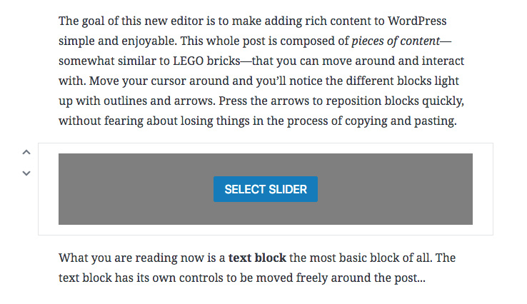 Select slider in Gutenberg block