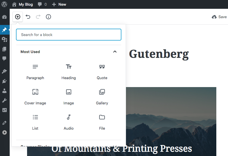 Blocks in Gutenberg Editor