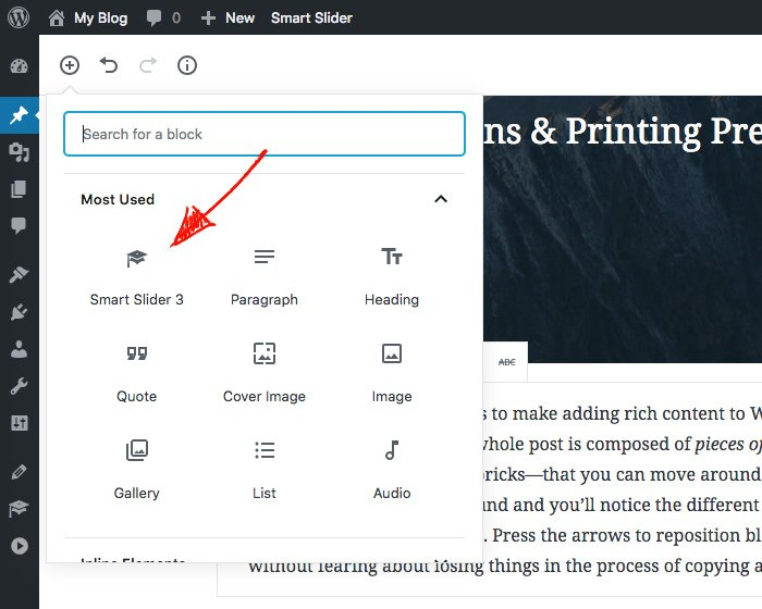 Smart Slider 3 block in Gutenberg