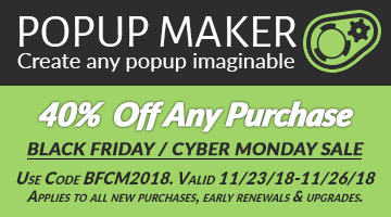 Popup Maker WordPress Black Friday Deal