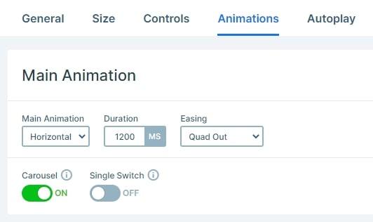 Horizontal main animation